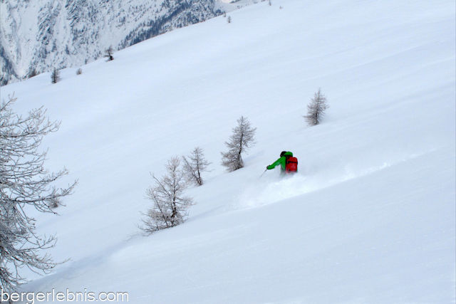 Skiabfahrt in der Valle Maira